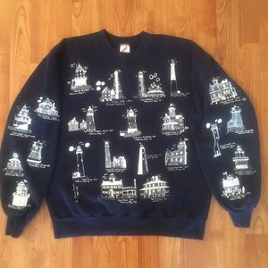 Vintage 1994 Lighthouse all over print crew neck